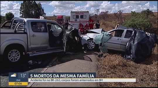Cinco pessoas da mesma família que morreram em acidente são enterradas em Belo Horizonte