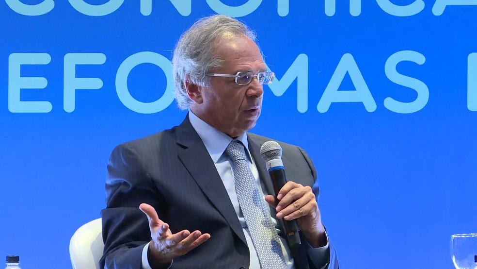 Paulo Guedes participa de evento em São Paulo nesta quinta-feira (30) — Foto: Reprodução/TV Globo