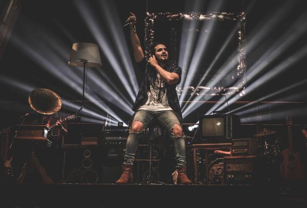 Luan Santana durante show neste ano no interior de São Paulo (Foto: Divulgação)