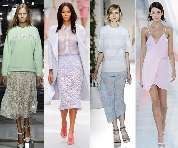 Pastel: Christopher Kane; Burberry; Mulberry; Preen (Foto: Getty Images)