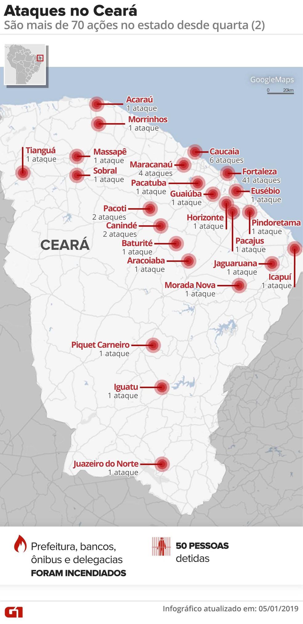 Ceará tem série de ataques criminosos — Foto: Infográfico: Alexandre Mauro/G1