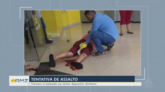 Comerciante é baleado dentro de agência bancária durante tentativa de assalto, em Manaus