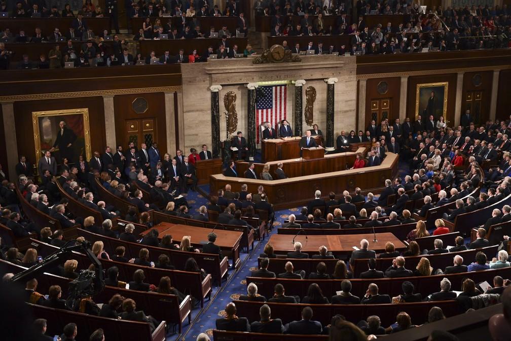Donald Trump faz seu primeiro discurso do Estado da União na noite desta terça-feira (30) no Congresso americano (Foto: AP Photo/Susan Walsh)