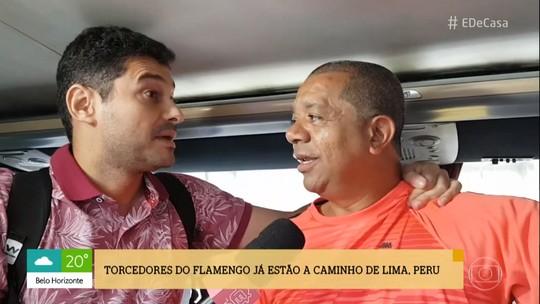 André Curvello acompanha torcedores flamenguistas em viagem de ônibus a Lima