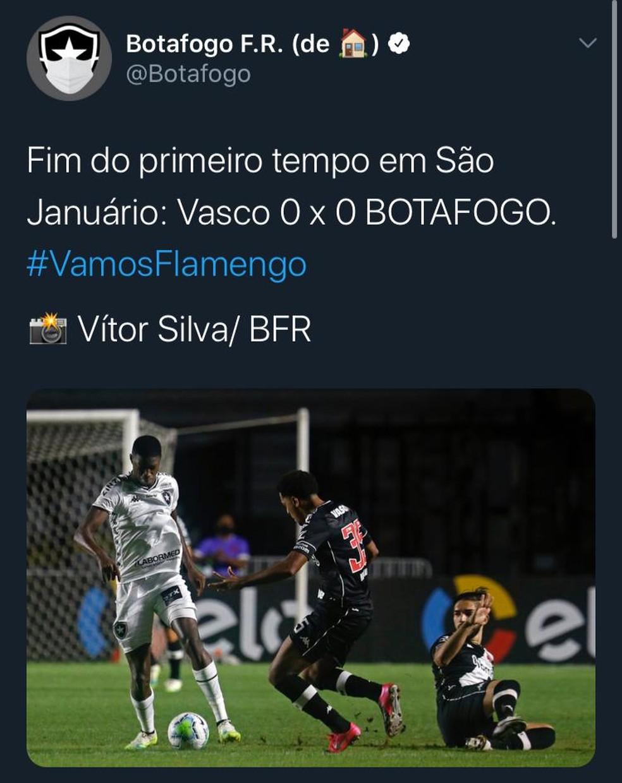 Botafogo postou #VamosFlamengo em uma publicação no Twitter — Foto: Reprodução