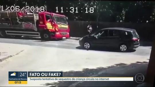 É #FAKE que vídeo mostra tentativa de roubo de criança na Baixada Fluminense