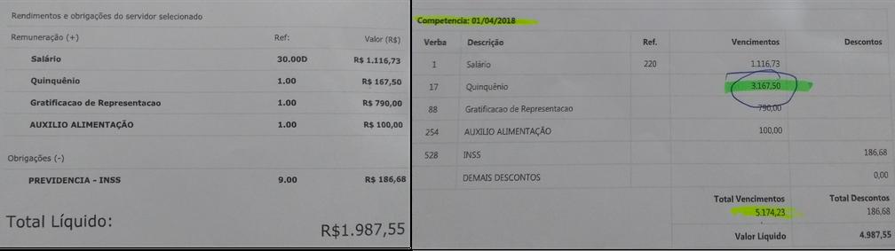 Salário normal à esquerda e susposta fraude à direita (Foto: Reprodução)