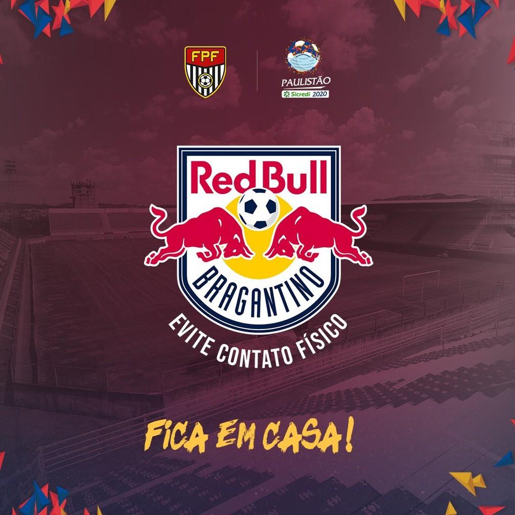 Bragantino adapta escudo em campanha contra o novo coronavírus — Foto: Reprodução Twitter