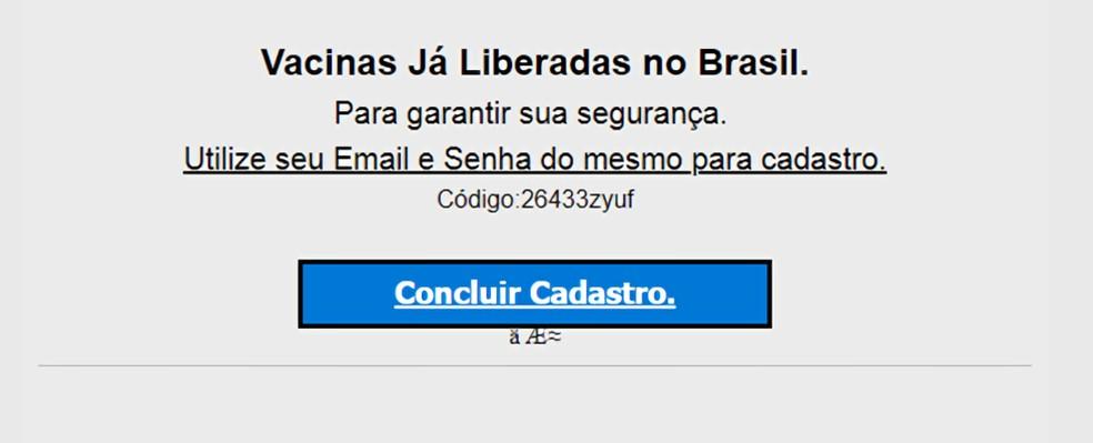 Phishing para 'cadastro de vacinação' para roubar dados de brasileiros.  — Foto: Reprodução/Kaspersky