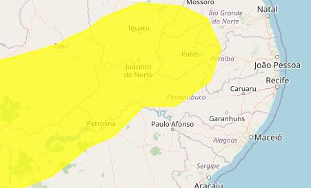 Inmet emite alerta amarelo de baixa umidade para 89 municípios da Paraíba