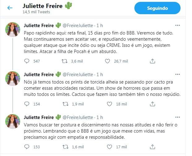 Equipe de Juliette repudia racismo contra filha de Pocah (Foto: Reprodução/Twitter)