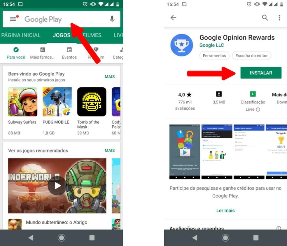 Baixe o aplicativo Google Opinion Rewards — Foto: Reprodução/Nicollas Ribeiro