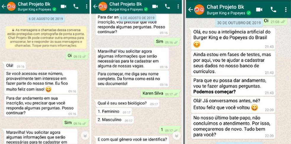 Reprodução de como funciona o chatbot das seleções pelo WhatsApp da rede Burger King — Foto: Divulgação