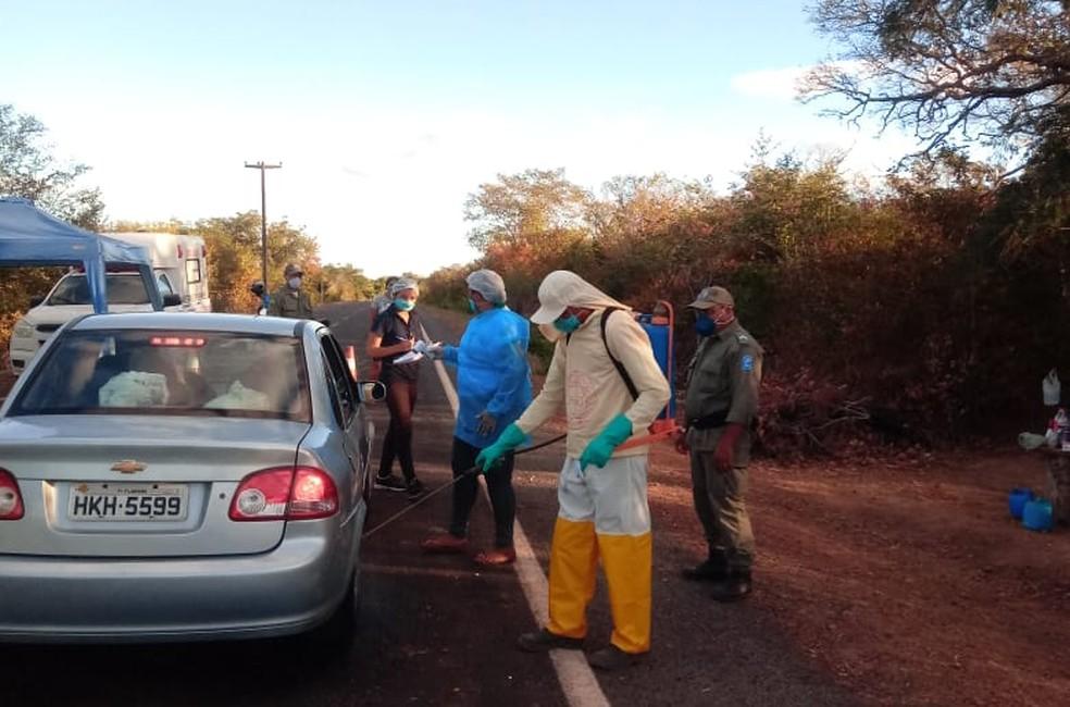 Canavieira adotou barreiras sanitárias para evitar contágio pelo coronavírus — Foto: Divulação/Prefeitura de Canavieira