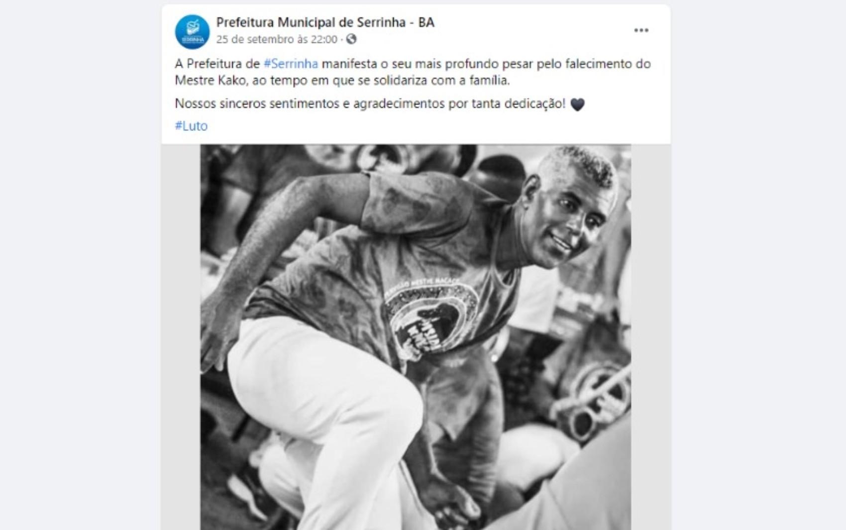 Mestre Kako morre após infartar durante roda de capoeira no sul da Bahia