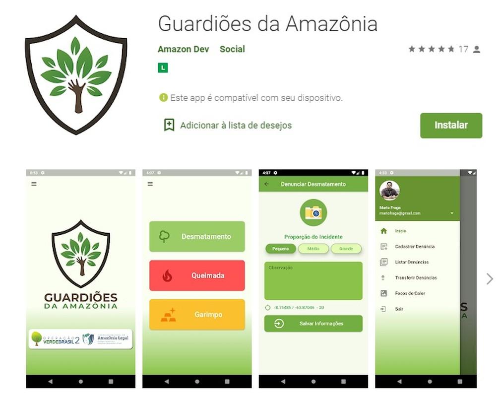 App Guardiões da Amazônia para denúncias de queimadas urbanas já pode ser baixado em Ji-Paraná. — Foto: Divulgação/Google Play
