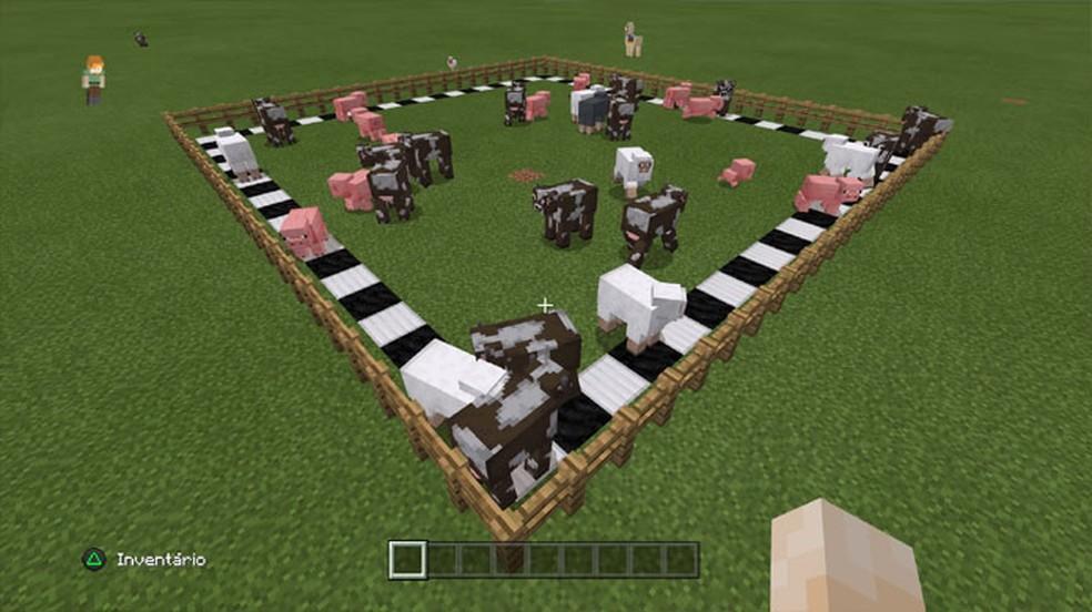 Animais dentro de uma área fechada de até 20x20 blocos em Minecraft não desaparecem quando o jogador está longe — Foto: Reprodução/Rafael Monteiro