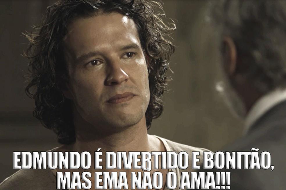 Edmundo e Ema se conhecem desde novinhos, mas esse seria um verdadeiro casamento por interesse (Foto: TV Globo)
