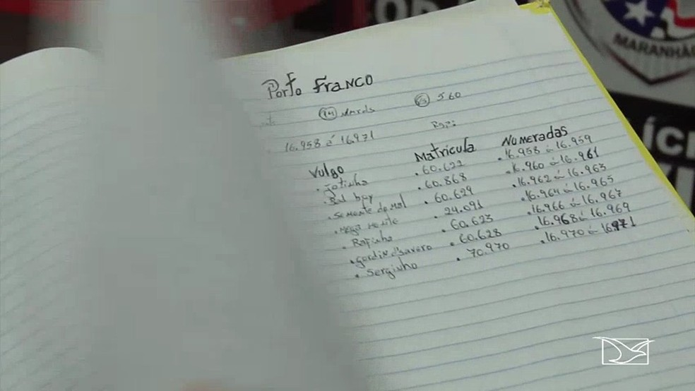No caderno estão anotados os nomes, apelidos e números de matrícula de vários presos (Foto: Reprodução/ TV Mirante)