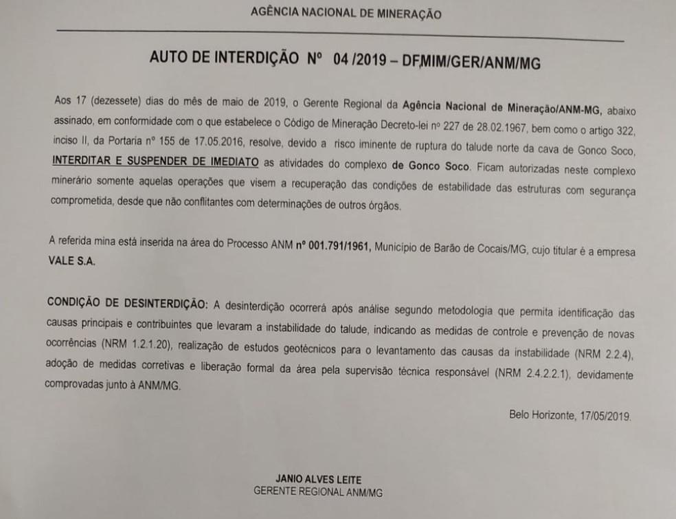 ANM interdita complexo de Gongo Soco por risco de rompimento em Barão de Cocais — Foto: Reprodução