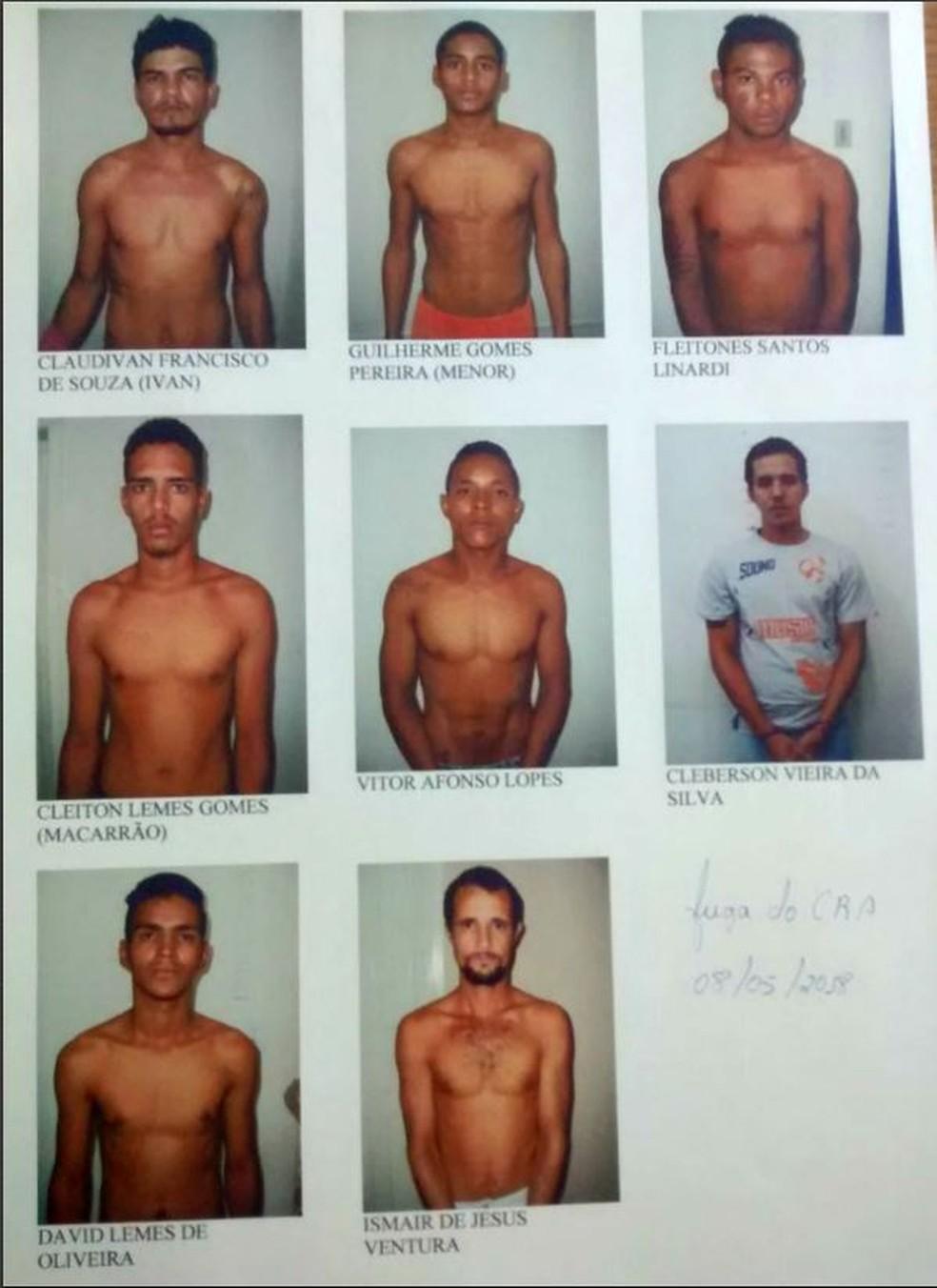 Direção do presídio divulgou as imagens dos fugitivos; David Lemes é o penúltimo na lista de fotos (Foto: Divulgação)
