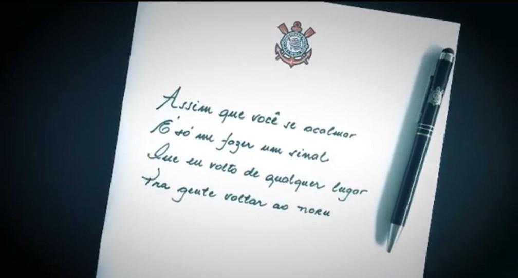 Trecho de música em anúncio de Renato Augusto no Corinthians — Foto: Reprodução
