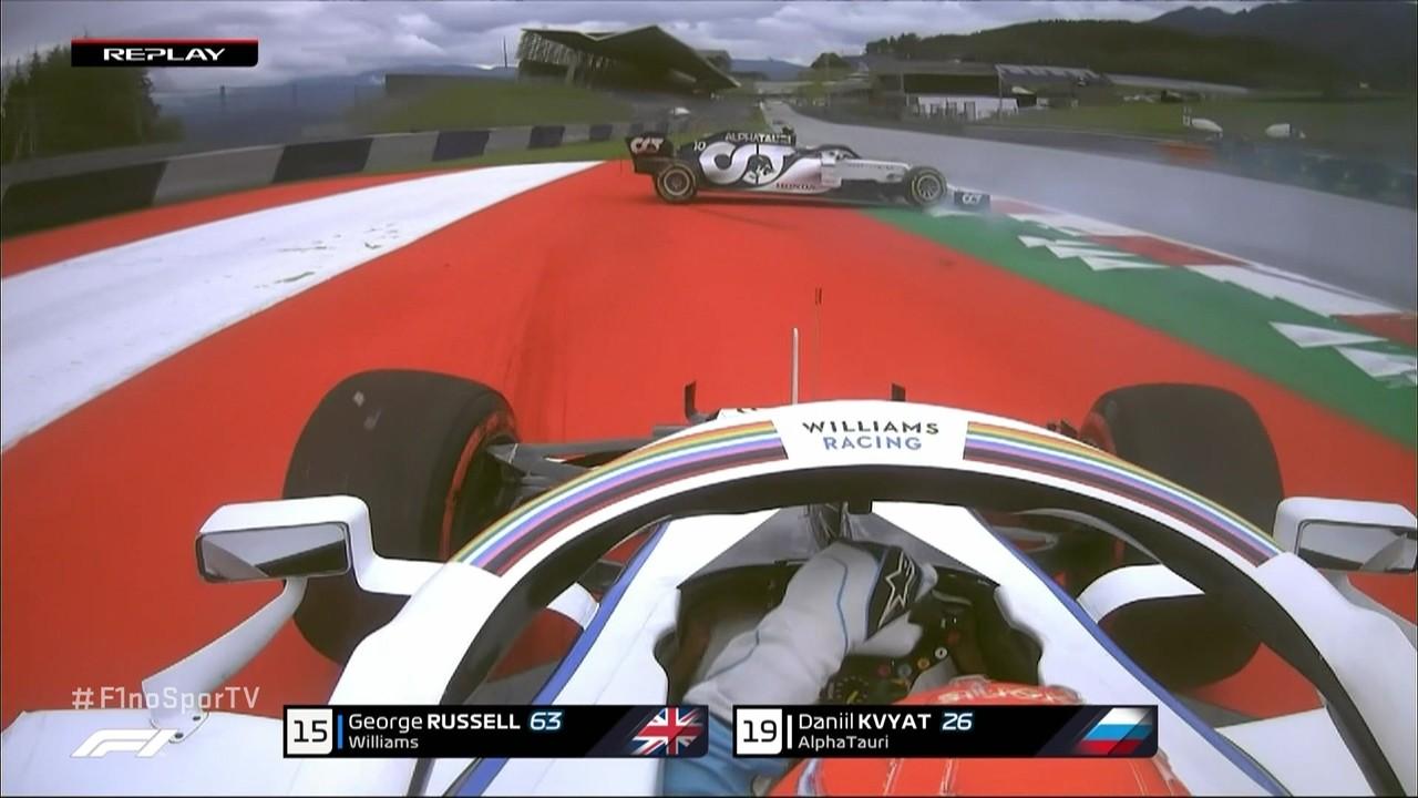 Kvyat roda e dá susto em Russel no treino livre para o GP da Áustria
