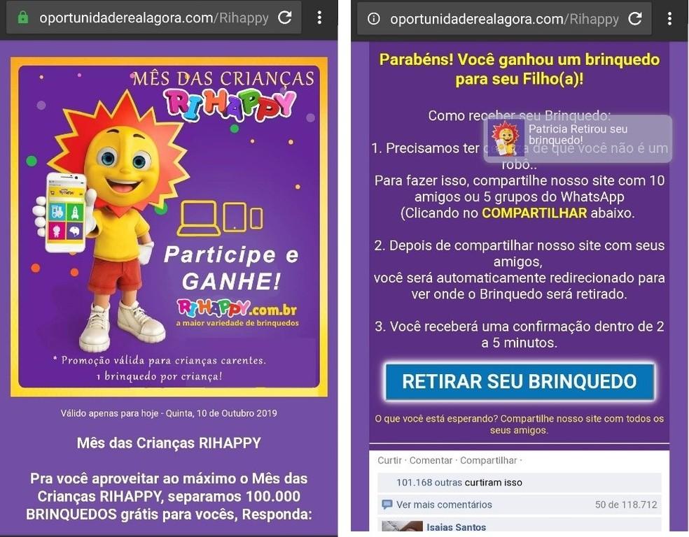 Golpe usa falsa promoção de Dia das Crianças da RiHappy para enganar vítimas — Foto: Reprodução/Kaspersky
