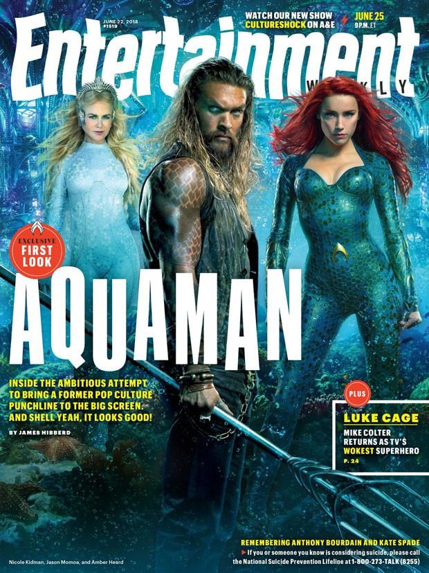Nicole Kidman, Jason Momoa e Amber Head: Aquaman (Foto: Reprodução Twitter)