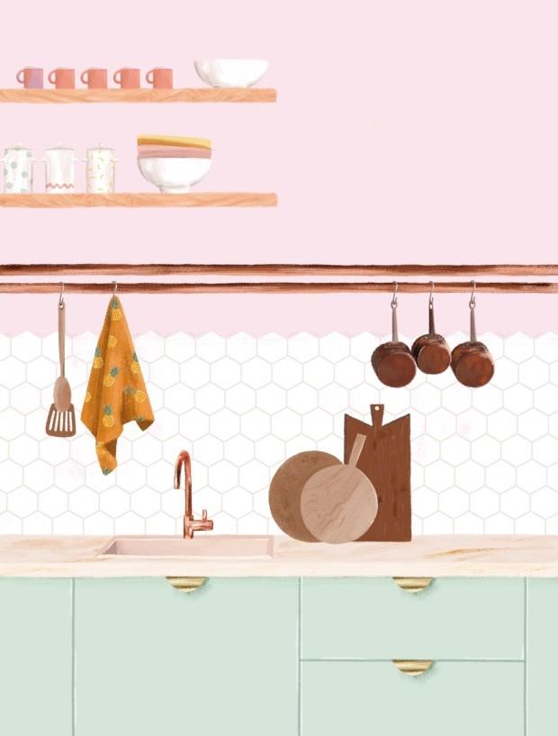 Ilustração de cozinha (Foto: Ilustração Malena Flores)