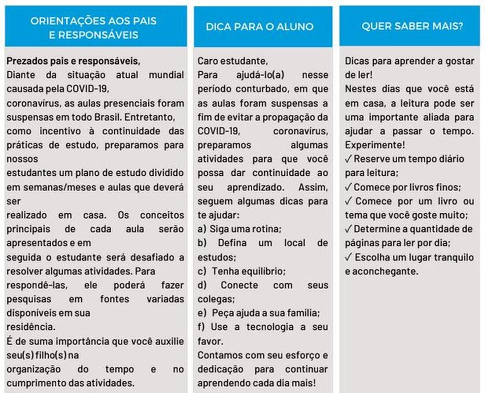 Orientação aos pais no material pedagógico — Foto: SEE/Divulgação