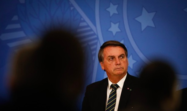 O presidente Jair Bolsonaro em cerimônia no Planalto