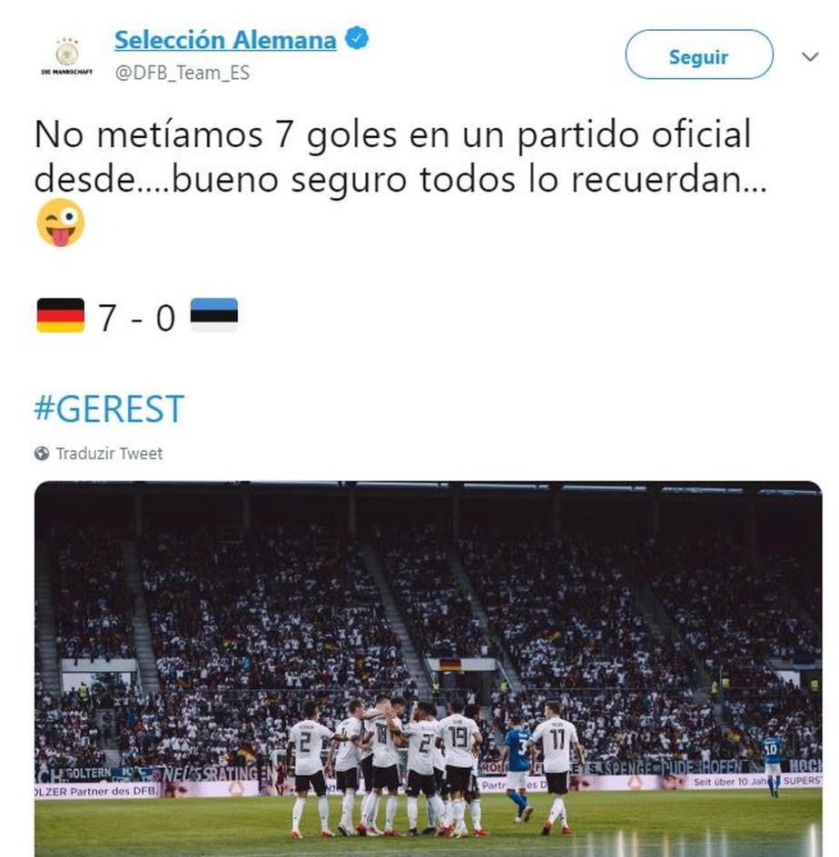 Alemanha tira sarro do Brasil após goleada sobre Estônia; Neuer quebra recorde de Maier
