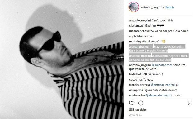 Alessandra Negrini comenta no Instagram do filho (Foto: Reprodução/Instagram)