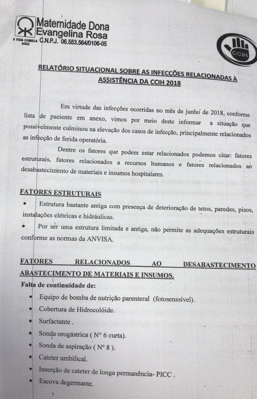 Relatório aponta também a falta de materiais e insumos (Foto: Foto: Reprodção/ TV Clube)