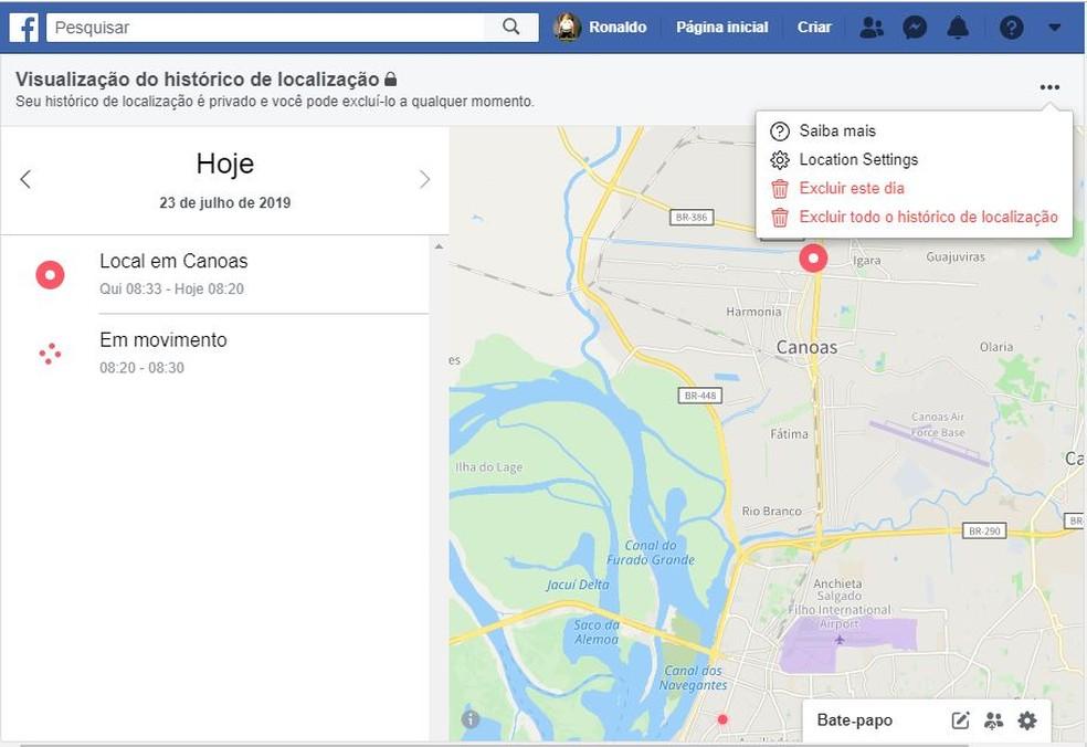 Saiba como apagar o histórico de localização no Facebook — Foto: Reprodução