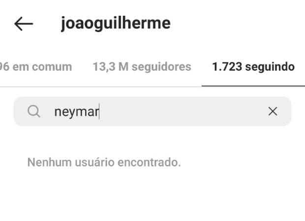 João Guilherme deixa de seguir Neymar (Foto: Reprodução/Instagram)