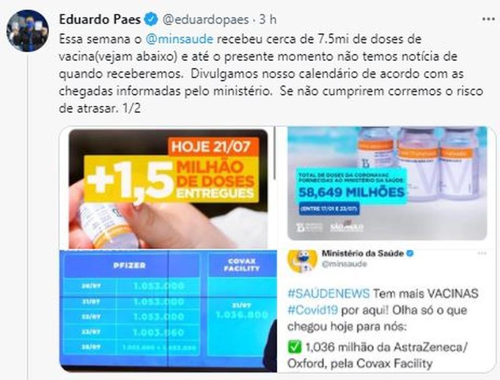 Paes critica demora na entrega de vacinas — Foto: Reprodução/Twitter