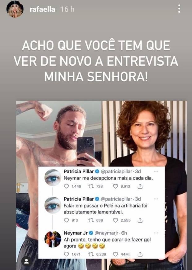 Rafaella defende Neymar em briga com Patrícia Pillar (Foto: Reprodução/Instagram)