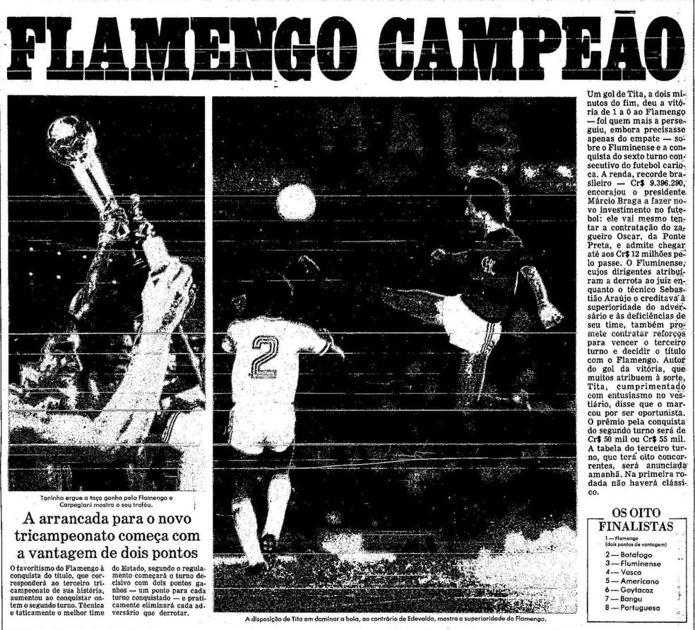 """Jornal """"O Globo"""" deu destaque à Taça Innocêncio Pereira Leal em 24-09-1979 — Foto: Reprodução / O Globo"""