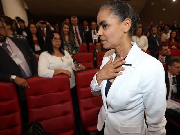 A ex-senadora Marina Silva no plenário do TSE antes do início da sessão que analisou o registro da Rede  (Foto: Andre Dusek/Estadão Conteúdo)
