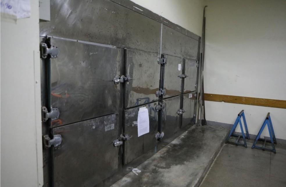 Câmara frigorífica para cadáveres no Hospital Regional da Asa Norte — Foto: Reprodução