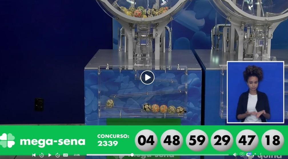 Números sorteados no concurso 2239 da Mega-Sena — Foto: Reprodução/Caixa