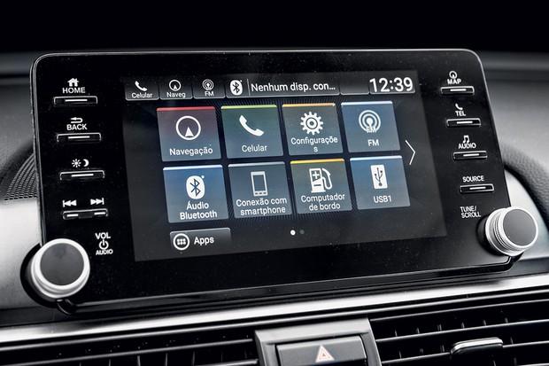 Multimídia do Honda é mais moderno, mas também não chega a ser referência (Foto: Fabio Aro/Autoesporte)
