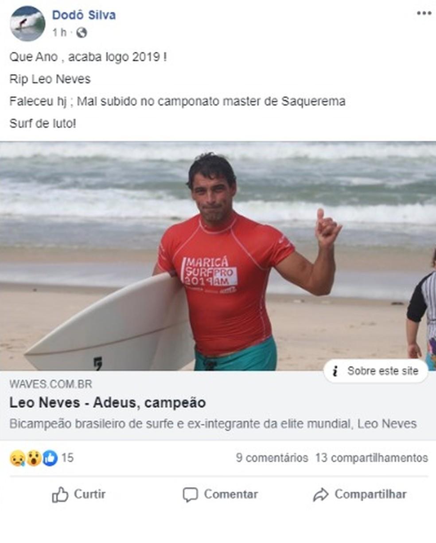 Admiradores de Leo Neves postam sobre a perda do ídolo e dizem que o esporte está de luto — Foto: Reprodução/Facebook