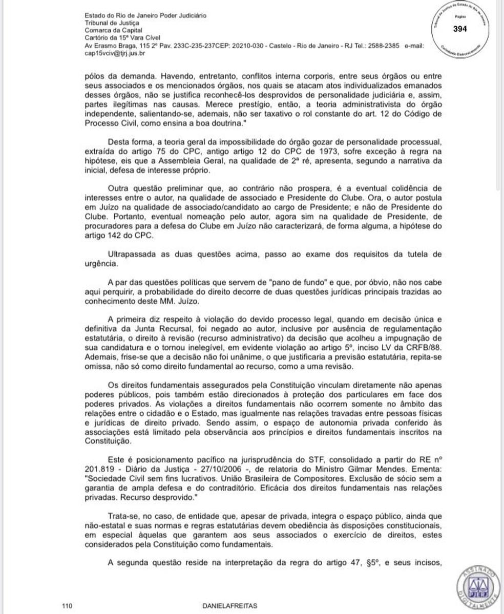 Liminar que permite que Alexandre Campello concorra na eleição do Vasco — Foto: Reprodução