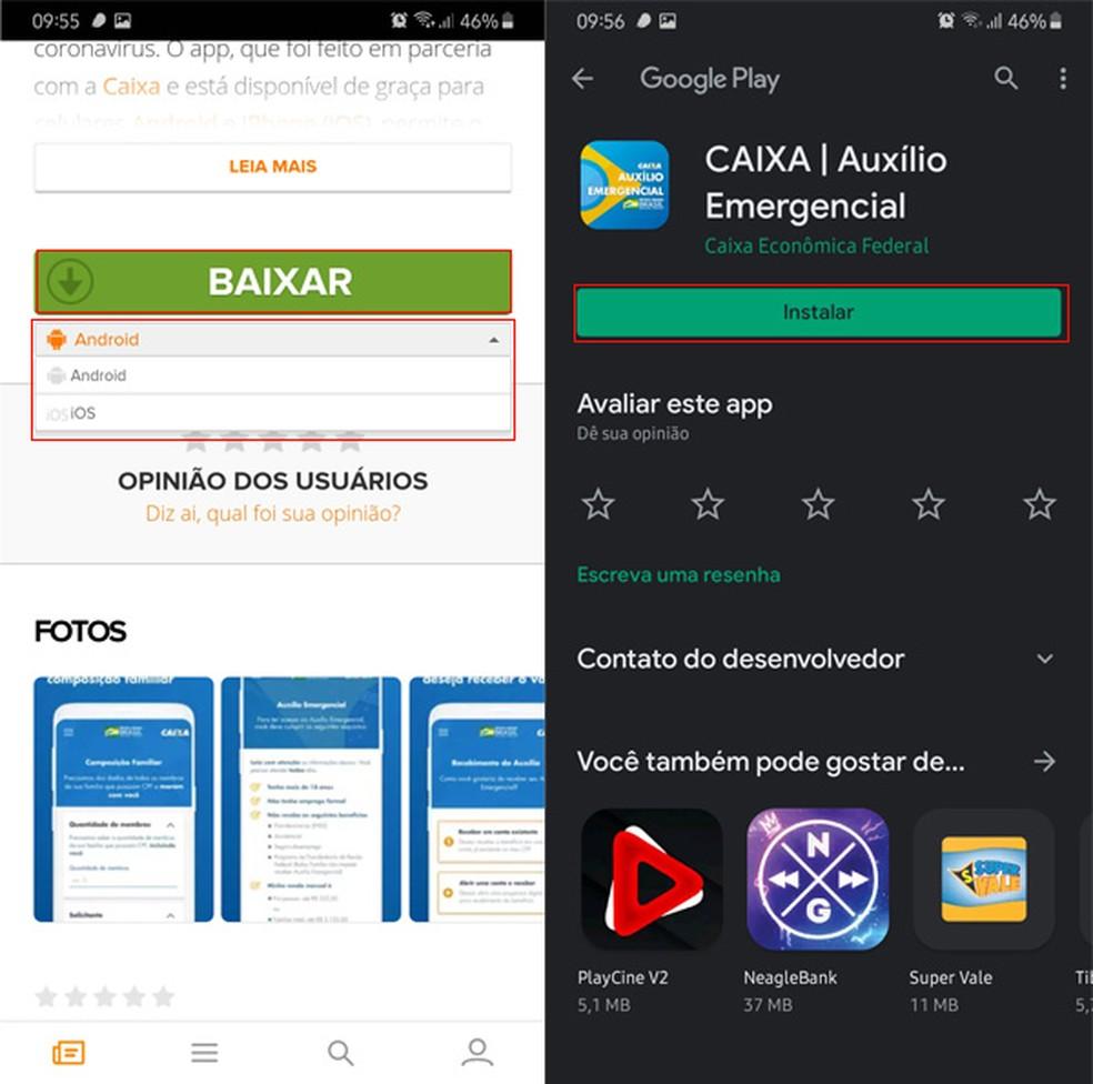 Selecione seu celular e acesse a loja de apps correta — Foto: Reprodução/TechTudo