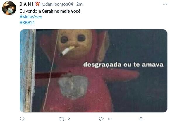 Internautas fazem piada com entrevista de Sarah ao 'Mais você' (Foto: Reprodução)