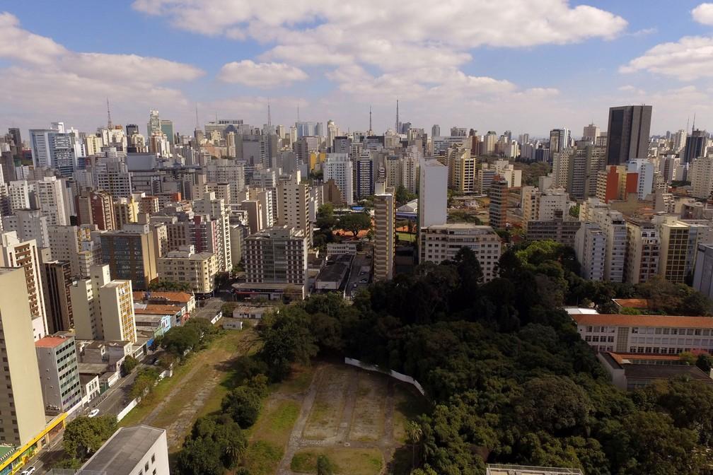 Vista aérea do Parque Augusta, na região central da capital  — Foto: Luis Moura/WPP/Estadão Conteúdo