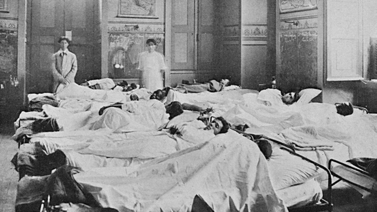 7 fatos sobre a Gripe Espanhola no Brasil. Acima: enfermaria do Rio de Janeiro em 1918 (Foto: Wikimedia Commons)
